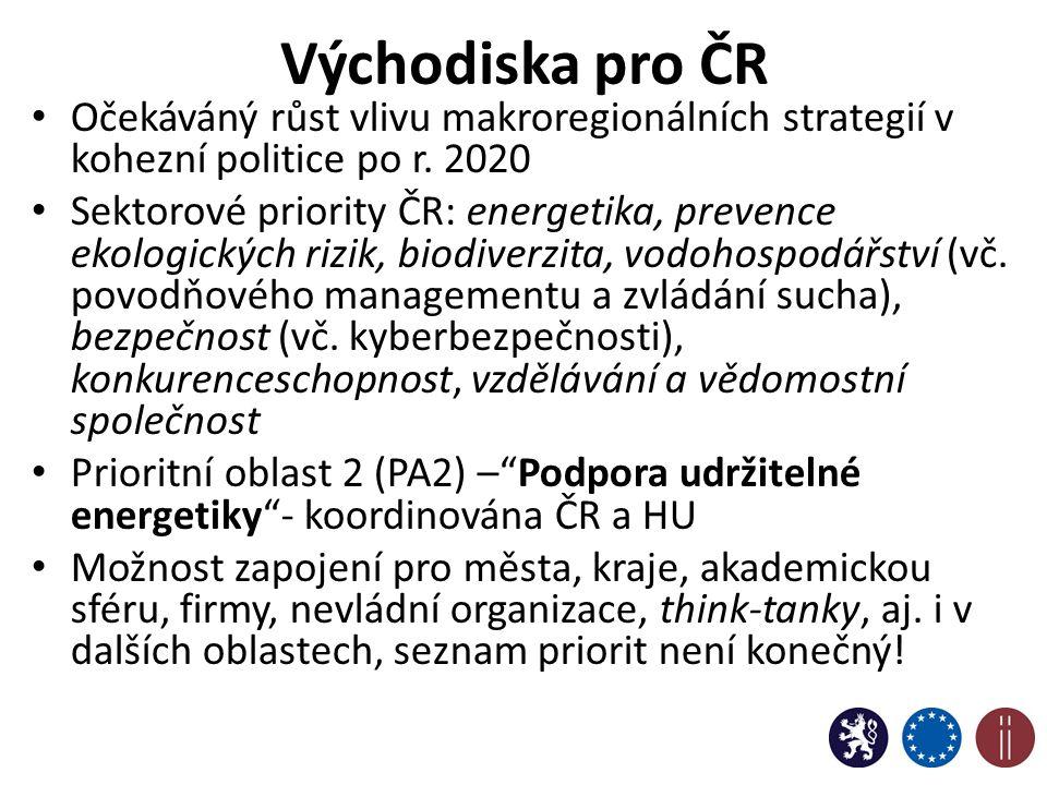 Východiska pro ČR Očekáváný růst vlivu makroregionálních strategií v kohezní politice po r.