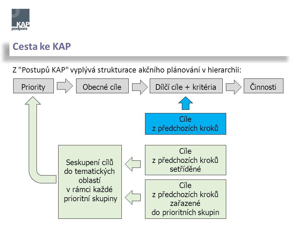 Cesta ke KAP Z Postupů KAP vyplývá strukturace akčního plánování v hierarchii: Obecné cíle Dílčí cíle + kritéria Priority Činnosti Cíle z předchozích kroků Cíle z předchozích kroků setříděné Seskupení cílů do tematických oblastí v rámci každé prioritní skupiny Cíle z předchozích kroků zařazené do prioritních skupin
