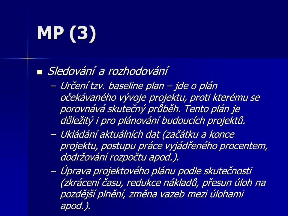 MP (3) Sledování a rozhodování Sledování a rozhodování –Určení tzv.