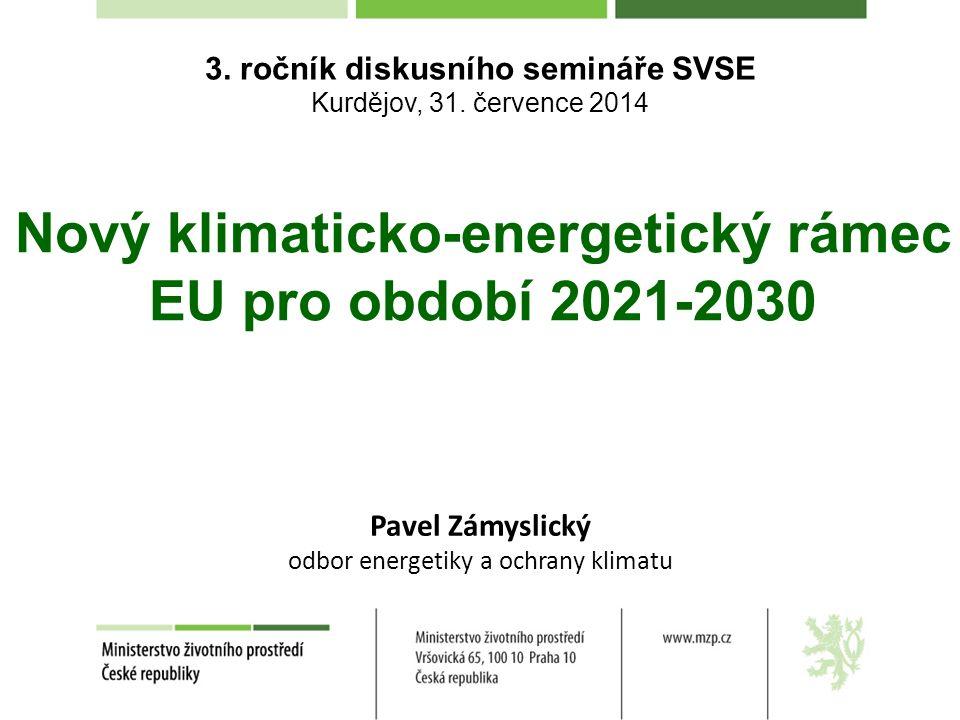 Nový klimaticko-energetický rámec EU pro období 2021-2030 3. ročník diskusního semináře SVSE Kurdějov, 31. července 2014 Pavel Zámyslický odbor energe
