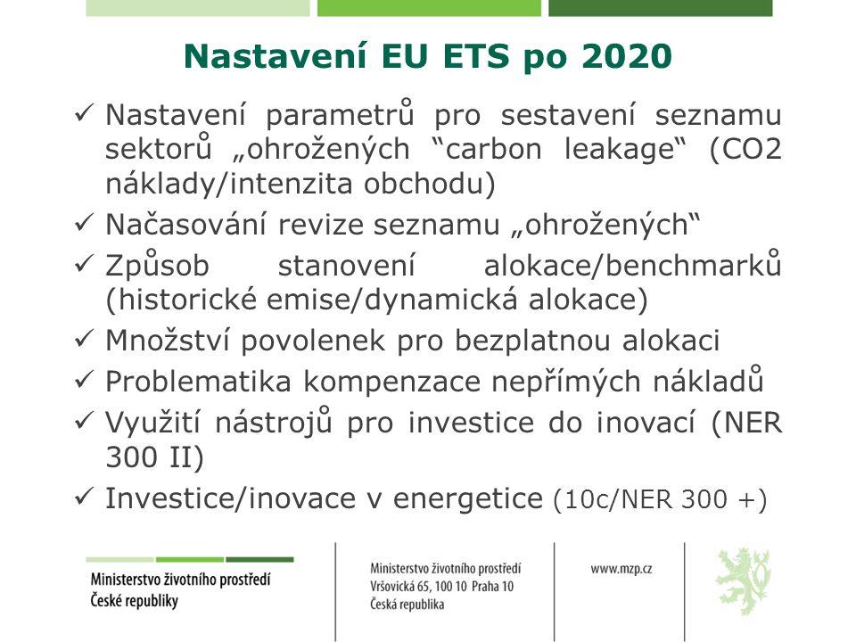 """Nastavení EU ETS po 2020 Nastavení parametrů pro sestavení seznamu sektorů """"ohrožených carbon leakage (CO2 náklady/intenzita obchodu) Načasování revize seznamu """"ohrožených Způsob stanovení alokace/benchmarků (historické emise/dynamická alokace) Množství povolenek pro bezplatnou alokaci Problematika kompenzace nepřímých nákladů Využití nástrojů pro investice do inovací (NER 300 II) Investice/inovace v energetice (10c/NER 300 +)"""