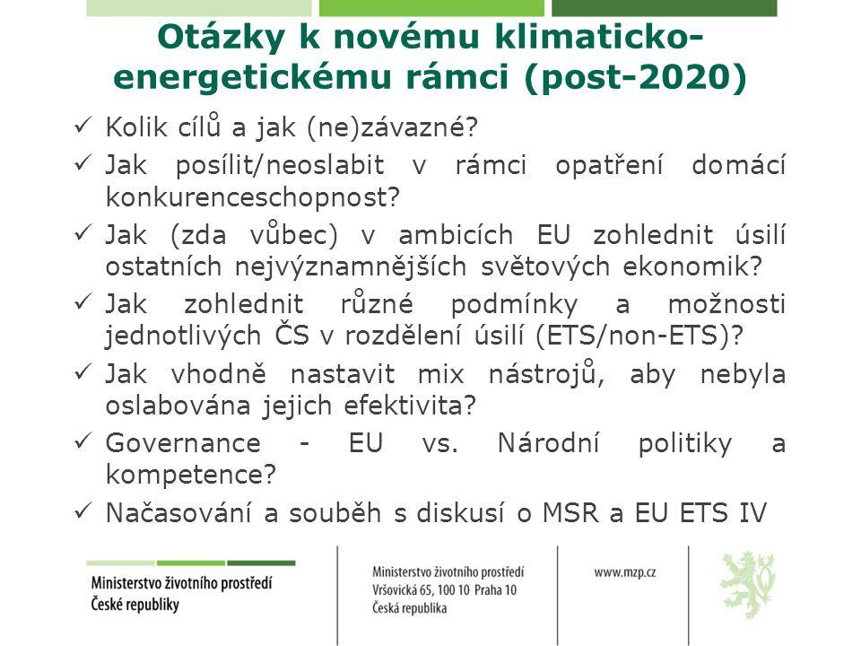 Otázky k novému klimaticko- energetickému rámci (post-2020) Kolik cílů a jak (ne)závazné? Jak posílit/neoslabit v rámci opatření domácí konkurencescho