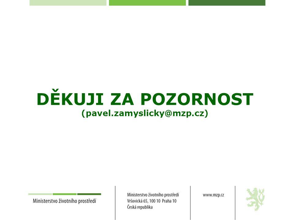 DĚKUJI ZA POZORNOST (pavel.zamyslicky@mzp.cz)