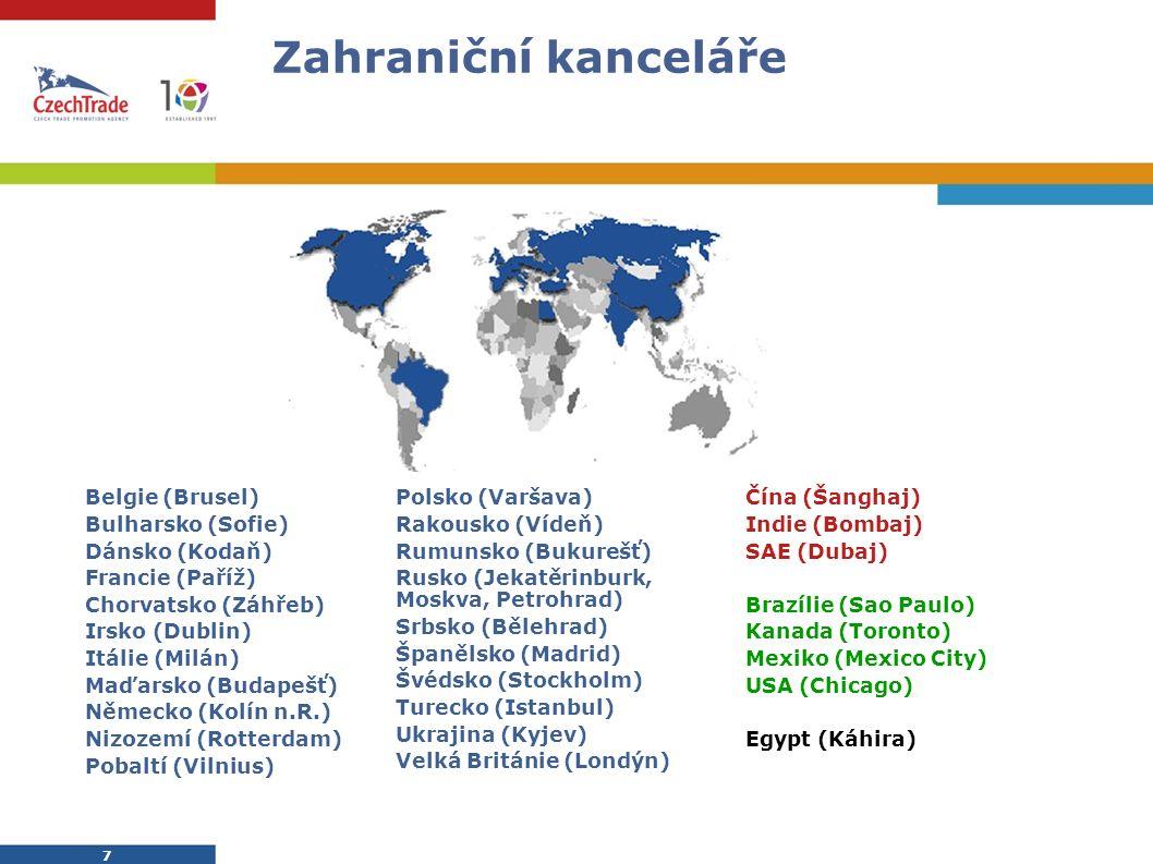 8 8 Služby zahraničních kanceláří Exportní záměr firmy je řešen vždy individuálně a ve spolupráci se zahraničními kancelářemi CzechTrade.