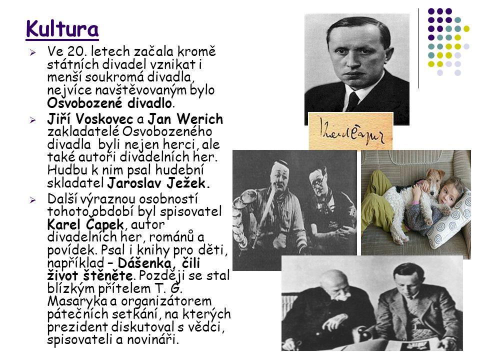 Kultura  Ve 20. letech začala kromě státních divadel vznikat i menší soukromá divadla, nejvíce navštěvovaným bylo Osvobozené divadlo.  Jiří Voskovec