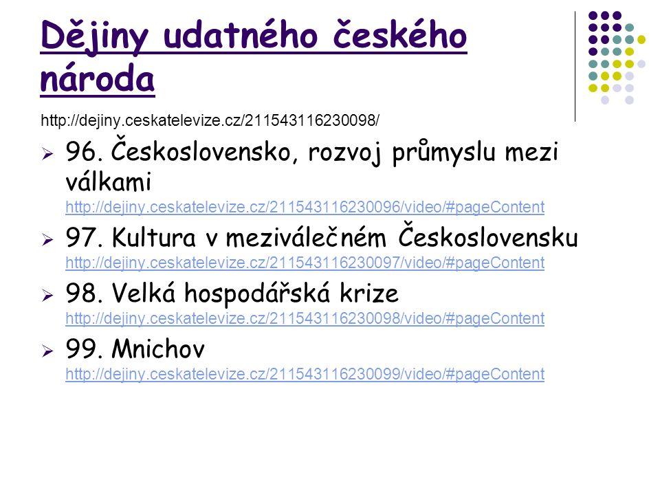 Dějiny udatného českého národa http://dejiny.ceskatelevize.cz/211543116230098/  96. Československo, rozvoj průmyslu mezi válkami http://dejiny.ceskat
