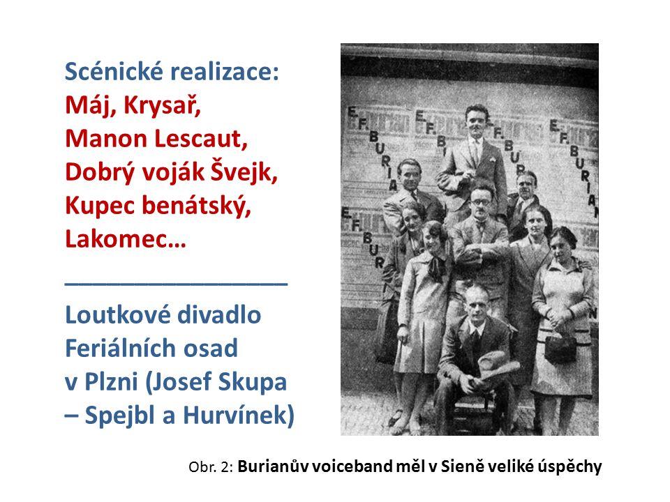 Obr. 2: Burianův voiceband měl v Sieně veliké úspěchy Scénické realizace: Máj, Krysař, Manon Lescaut, Dobrý voják Švejk, Kupec benátský, Lakomec… ____