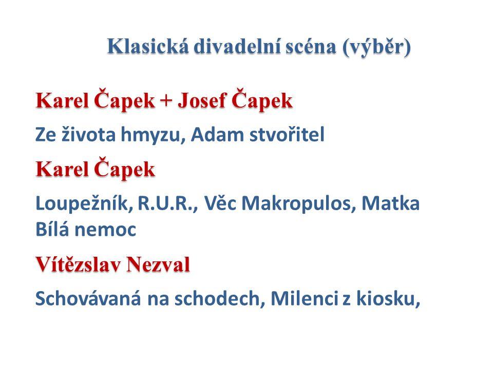 Klasická divadelní scéna (výběr) Karel Čapek + Josef Čapek Ze života hmyzu, Adam stvořitel Karel Čapek Loupežník, R.U.R., Věc Makropulos, Matka Bílá n