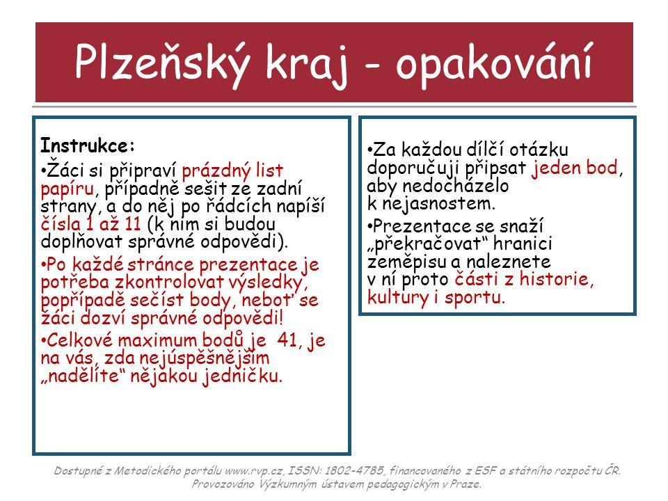 Plzeňský kraj - opakování Otázka č.