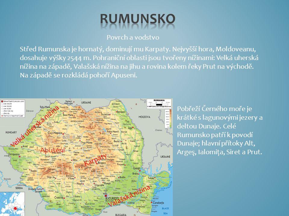 Povrch a vodstvo Pobřeží Černého moře je krátké s lagunovými jezery a deltou Dunaje. Celé Rumunsko patří k povodí Dunaje; hlavní přítoky Alt, Argeş, I