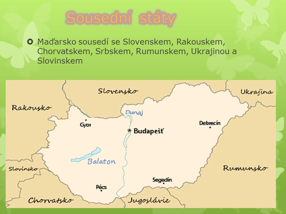  Hlavní město: Budapešť  Rozloha: 93 030 km²  Počet obyvatel: 9 960 000  Jazyk: maďarština  Prezident: János Áder  Měna: forint