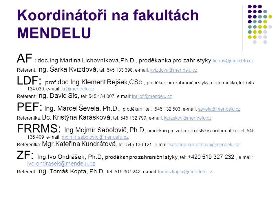 Koordinátoři na fakultách MENDELU AF : doc.Ing.Martina Lichovníková,Ph.D., proděkanka pro zahr.styky lichov@mendelu.cz lichov@mendelu.cz Referent: Ing