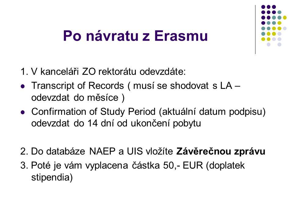 Po návratu z Erasmu 1. V kanceláři ZO rektorátu odevzdáte: Transcript of Records ( musí se shodovat s LA – odevzdat do měsíce ) Confirmation of Study