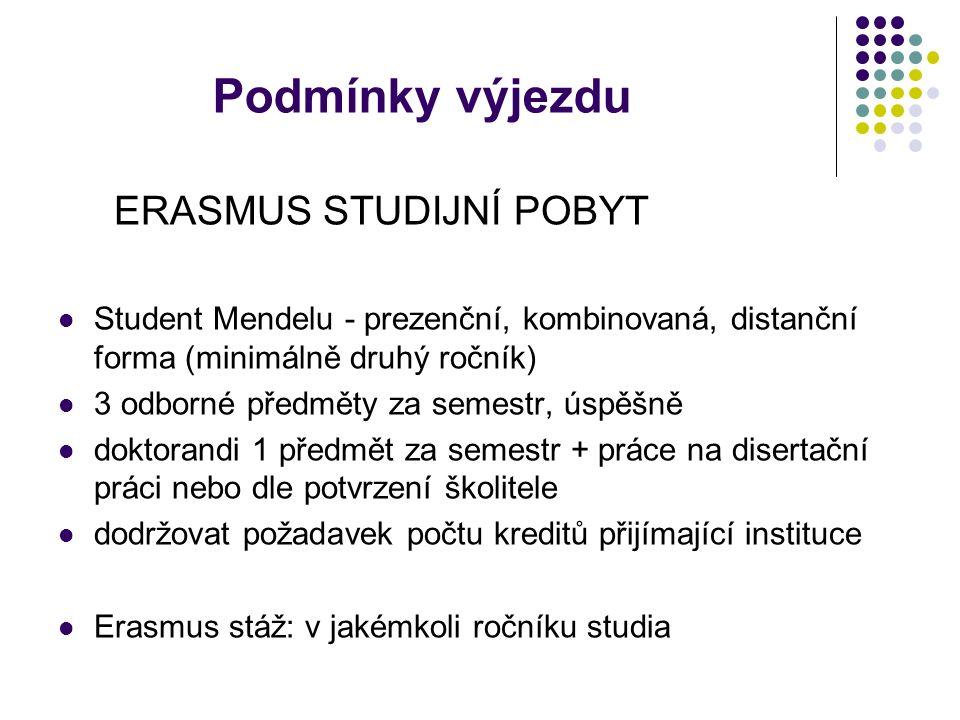 Podmínky výjezdu ERASMUS STUDIJNÍ POBYT Student Mendelu - prezenční, kombinovaná, distanční forma (minimálně druhý ročník) 3 odborné předměty za semestr, úspěšně doktorandi 1 předmět za semestr + práce na disertační práci nebo dle potvrzení školitele dodržovat požadavek počtu kreditů přijímající instituce Erasmus stáž: v jakémkoli ročníku studia