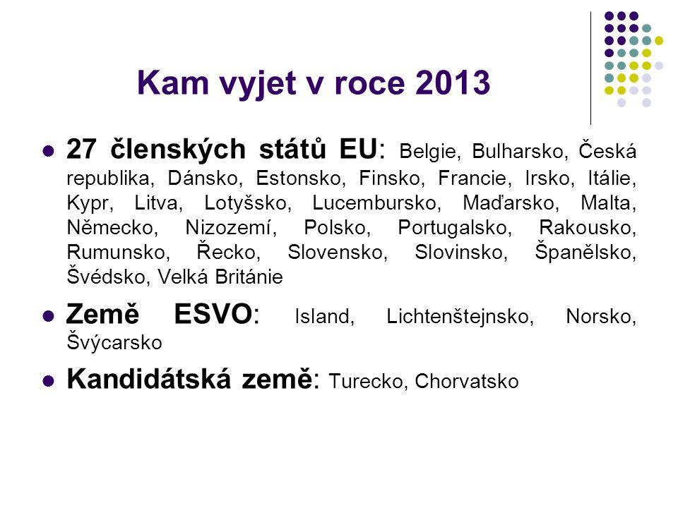 Kam vyjet v roce 2013 27 členských států EU: Belgie, Bulharsko, Česká republika, Dánsko, Estonsko, Finsko, Francie, Irsko, Itálie, Kypr, Litva, Lotyšsko, Lucembursko, Maďarsko, Malta, Německo, Nizozemí, Polsko, Portugalsko, Rakousko, Rumunsko, Řecko, Slovensko, Slovinsko, Španělsko, Švédsko, Velká Británie Země ESVO: Island, Lichtenštejnsko, Norsko, Švýcarsko Kandidátská země: Turecko, Chorvatsko