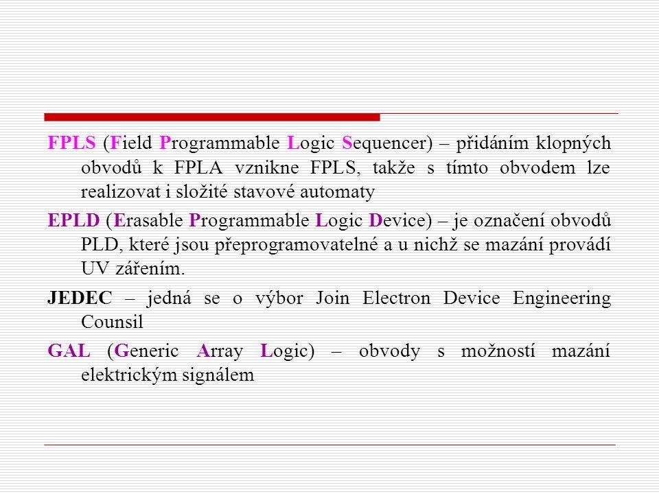 FPLS (Field Programmable Logic Sequencer) – přidáním klopných obvodů k FPLA vznikne FPLS, takže s tímto obvodem lze realizovat i složité stavové automaty EPLD (Erasable Programmable Logic Device) – je označení obvodů PLD, které jsou přeprogramovatelné a u nichž se mazání provádí UV zářením.