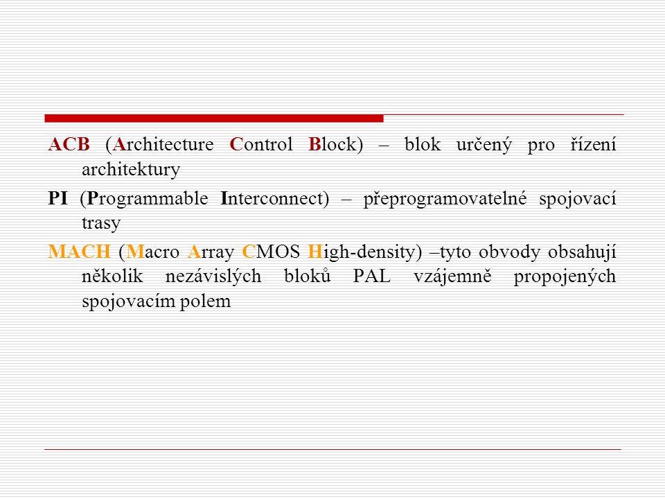 ACB (Architecture Control Block) – blok určený pro řízení architektury PI (Programmable Interconnect) – přeprogramovatelné spojovací trasy MACH (Macro Array CMOS High-density) –tyto obvody obsahují několik nezávislých bloků PAL vzájemně propojených spojovacím polem