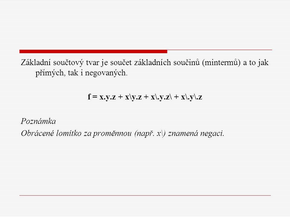 Základní součtový tvar je součet základních součinů (mintermů) a to jak přímých, tak i negovaných.