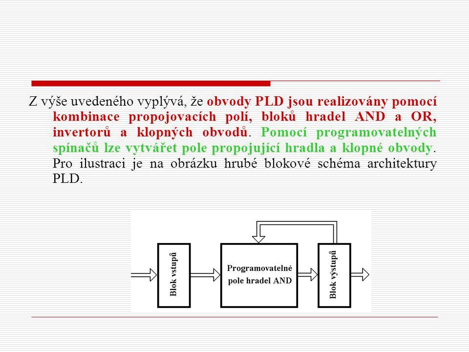 Z výše uvedeného vyplývá, že obvody PLD jsou realizovány pomocí kombinace propojovacích polí, bloků hradel AND a OR, invertorů a klopných obvodů.