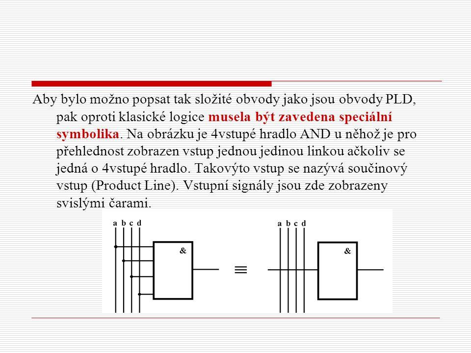 Aby bylo možno popsat tak složité obvody jako jsou obvody PLD, pak oproti klasické logice musela být zavedena speciální symbolika.