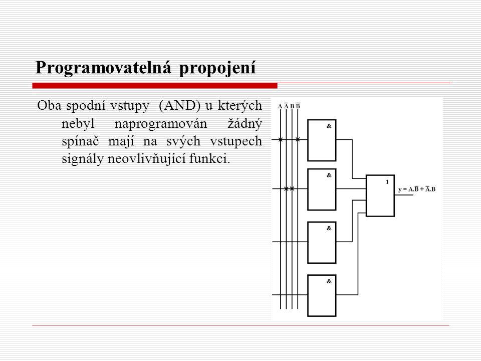 Programovatelná propojení Oba spodní vstupy (AND) u kterých nebyl naprogramován žádný spínač mají na svých vstupech signály neovlivňující funkci.
