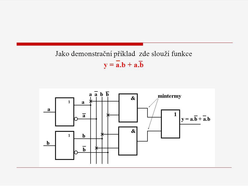 Jako demonstrační příklad zde slouží funkce y = a.b + a.b