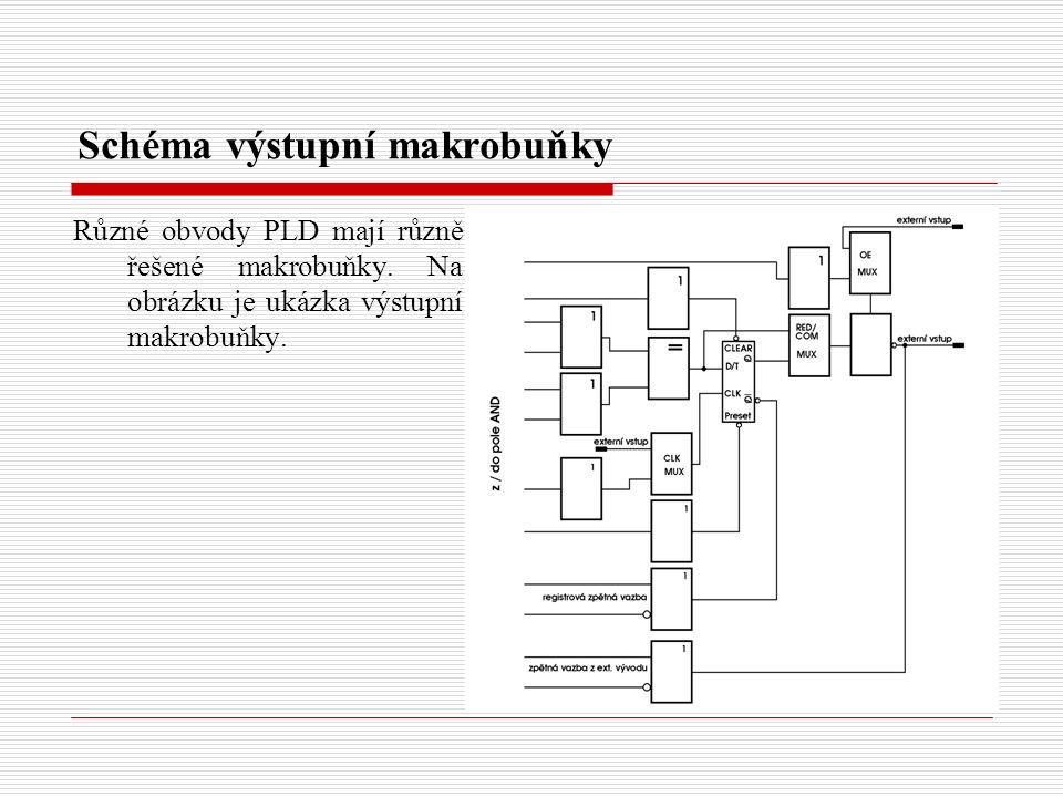 Schéma výstupní makrobuňky Různé obvody PLD mají různě řešené makrobuňky.