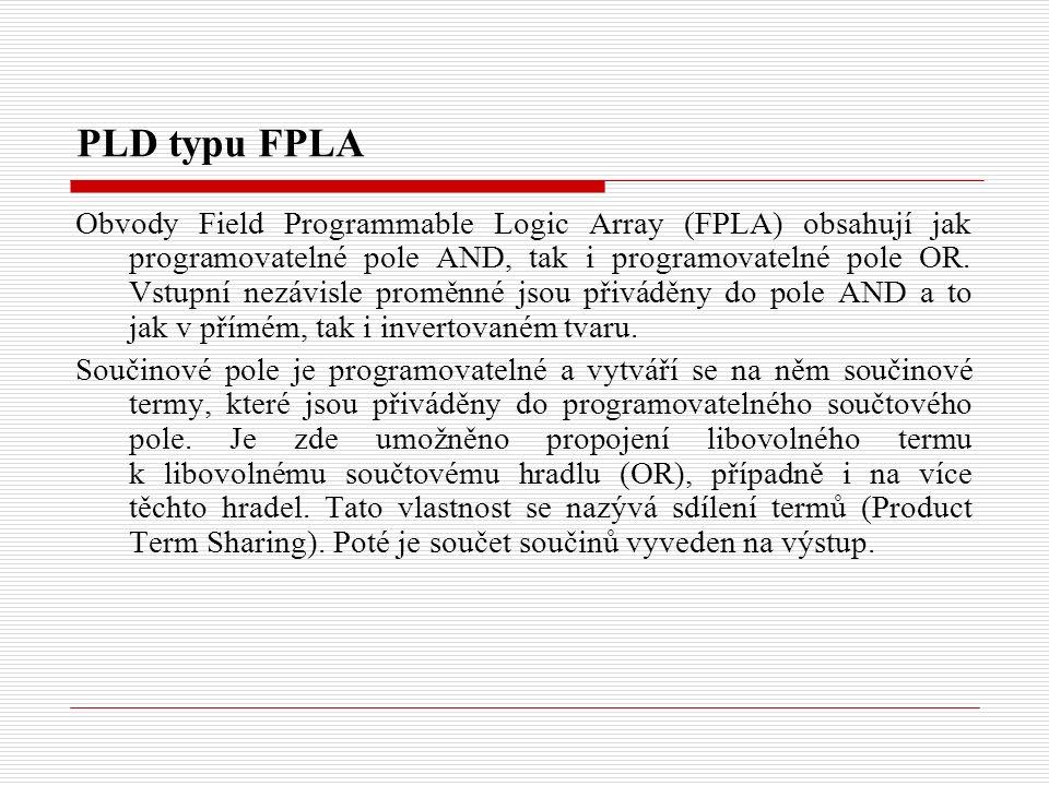 PLD typu FPLA Obvody Field Programmable Logic Array (FPLA) obsahují jak programovatelné pole AND, tak i programovatelné pole OR.