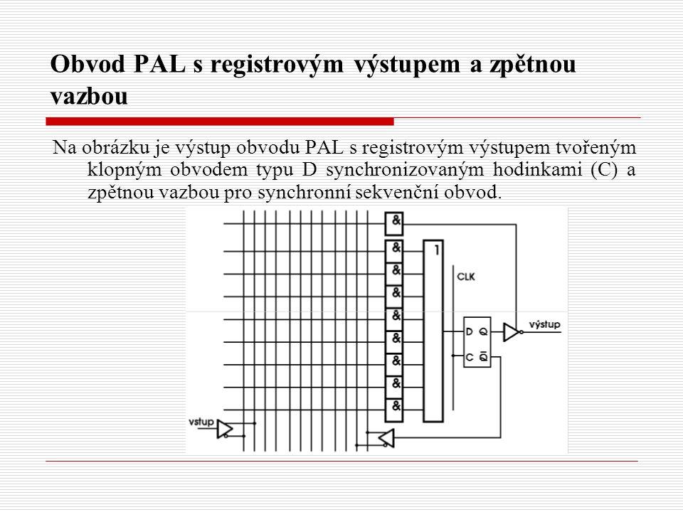 Obvod PAL s registrovým výstupem a zpětnou vazbou Na obrázku je výstup obvodu PAL s registrovým výstupem tvořeným klopným obvodem typu D synchronizovaným hodinkami (C) a zpětnou vazbou pro synchronní sekvenční obvod.