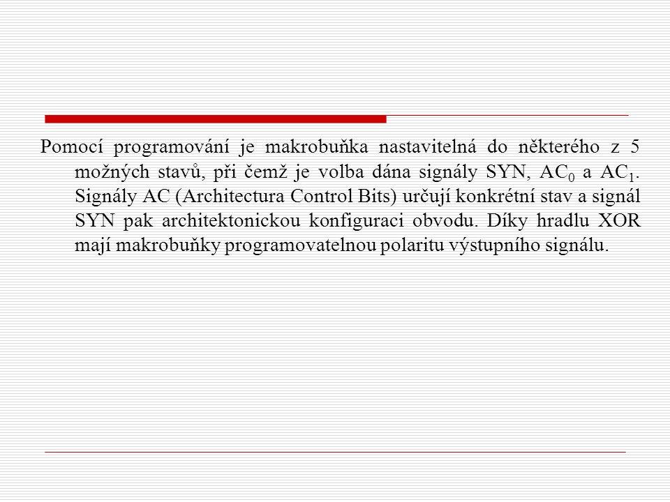Pomocí programování je makrobuňka nastavitelná do některého z 5 možných stavů, při čemž je volba dána signály SYN, AC 0 a AC 1.