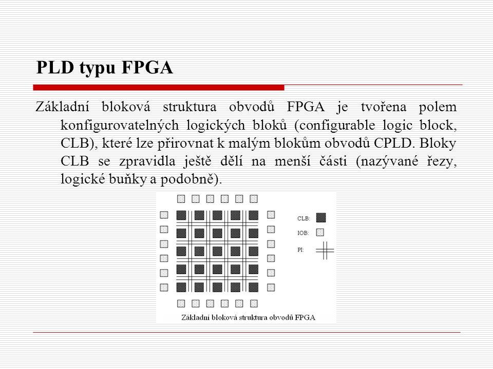 PLD typu FPGA Základní bloková struktura obvodů FPGA je tvořena polem konfigurovatelných logických bloků (configurable logic block, CLB), které lze přirovnat k malým blokům obvodů CPLD.