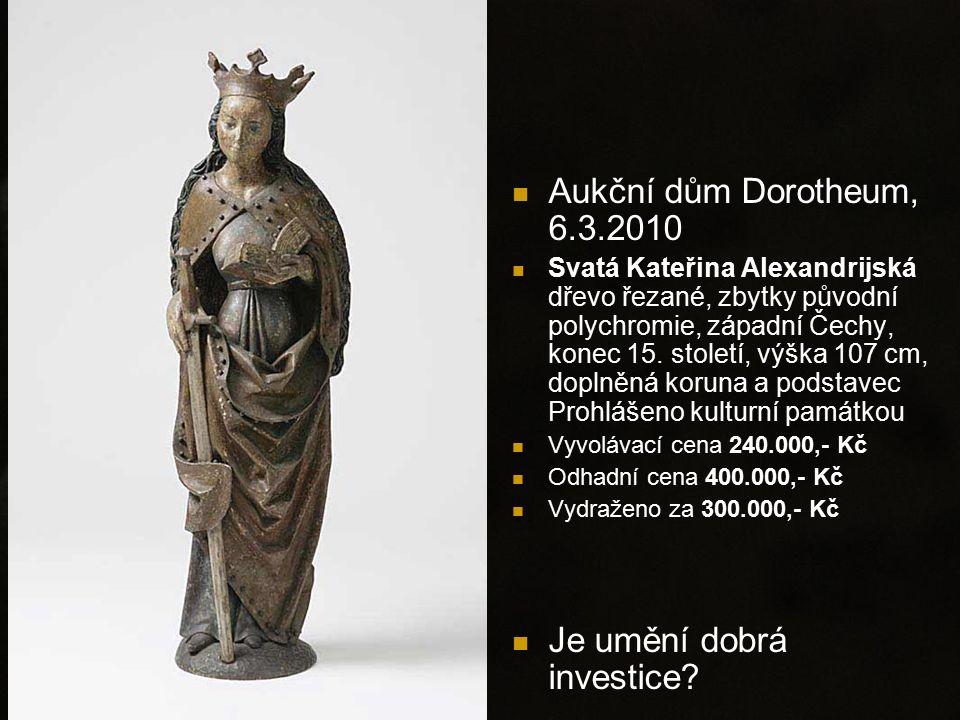 Aukční dům Dorotheum, 6.3.2010 Svatá Kateřina Alexandrijská dřevo řezané, zbytky původní polychromie, západní Čechy, konec 15. století, výška 107 cm,