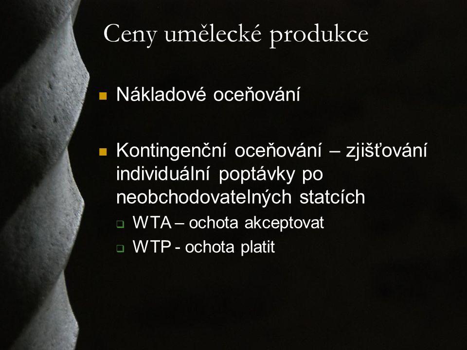 Ceny umělecké produkce Nákladové oceňování Kontingenční oceňování – zjišťování individuální poptávky po neobchodovatelných statcích  WTA – ochota akc