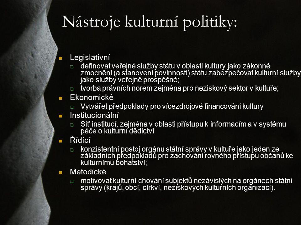 Nástroje kulturní politiky: Legislativní  definovat veřejné služby státu v oblasti kultury jako zákonné zmocnění (a stanovení povinnosti) státu zabez
