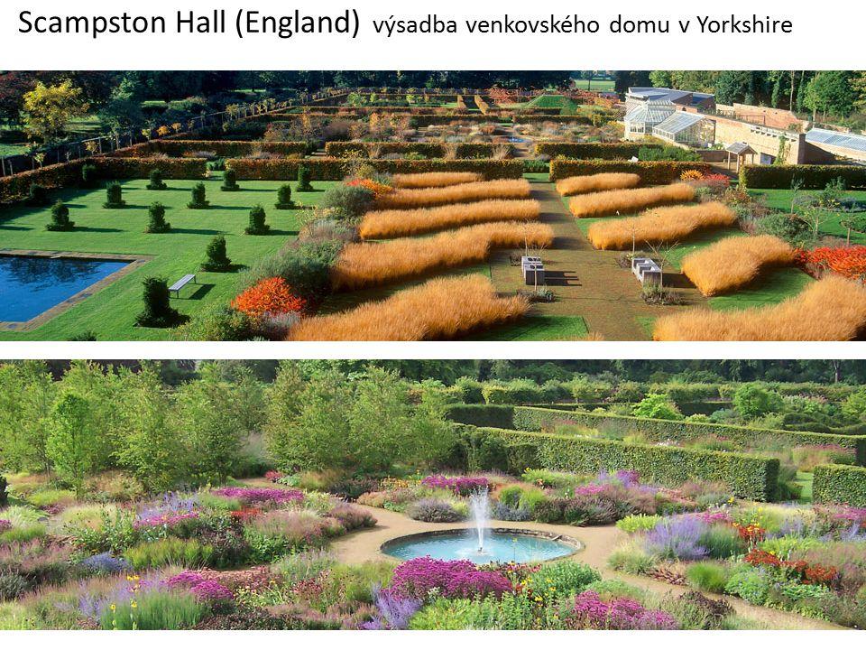 Scampston Hall (England) výsadba venkovského domu v Yorkshire