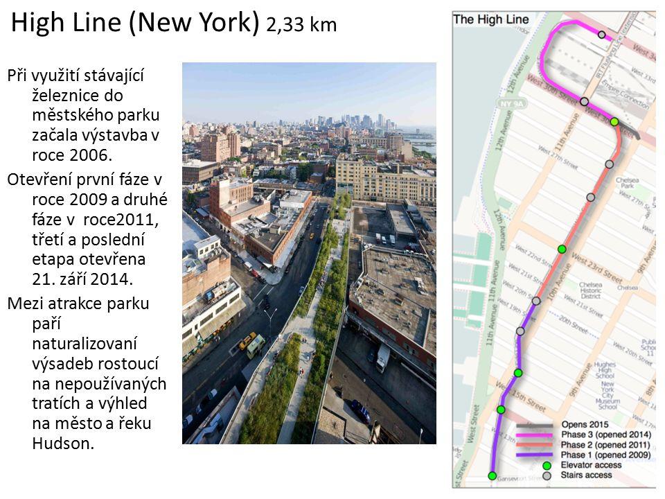 High Line (New York) 2,33 km Při využití stávající železnice do městského parku začala výstavba v roce 2006. Otevření první fáze v roce 2009 a druhé f