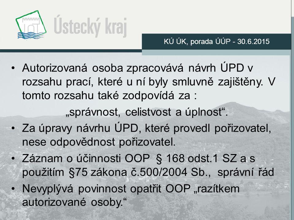 Autorizovaná osoba zpracovává návrh ÚPD v rozsahu prací, které u ní byly smluvně zajištěny.
