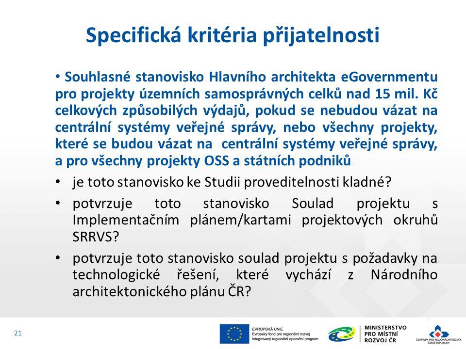 Souhlasné stanovisko Hlavního architekta eGovernmentu pro projekty územních samosprávných celků nad 15 mil.