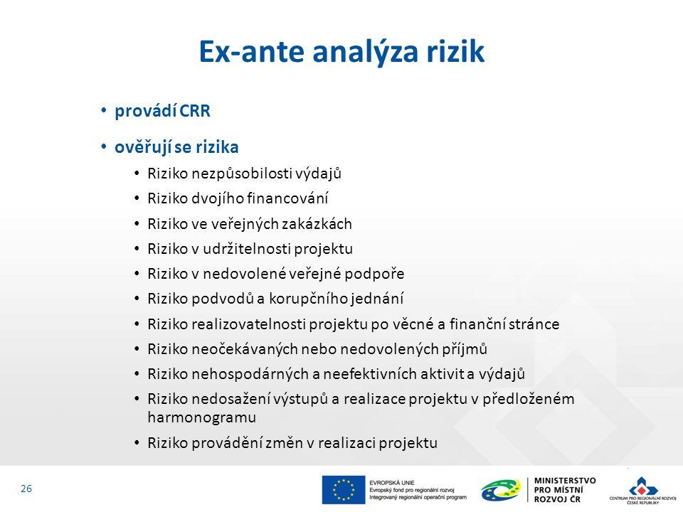 provádí CRR ověřují se rizika Riziko nezpůsobilosti výdajů Riziko dvojího financování Riziko ve veřejných zakázkách Riziko v udržitelnosti projektu Riziko v nedovolené veřejné podpoře Riziko podvodů a korupčního jednání Riziko realizovatelnosti projektu po věcné a finanční stránce Riziko neočekávaných nebo nedovolených příjmů Riziko nehospodárných a neefektivních aktivit a výdajů Riziko nedosažení výstupů a realizace projektu v předloženém harmonogramu Riziko provádění změn v realizaci projektu Ex-ante analýza rizik 26