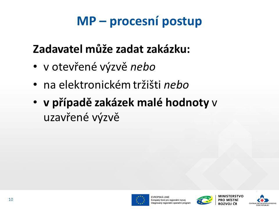 Zadavatel může zadat zakázku: v otevřené výzvě nebo na elektronickém tržišti nebo v případě zakázek malé hodnoty v uzavřené výzvě MP – procesní postup 10