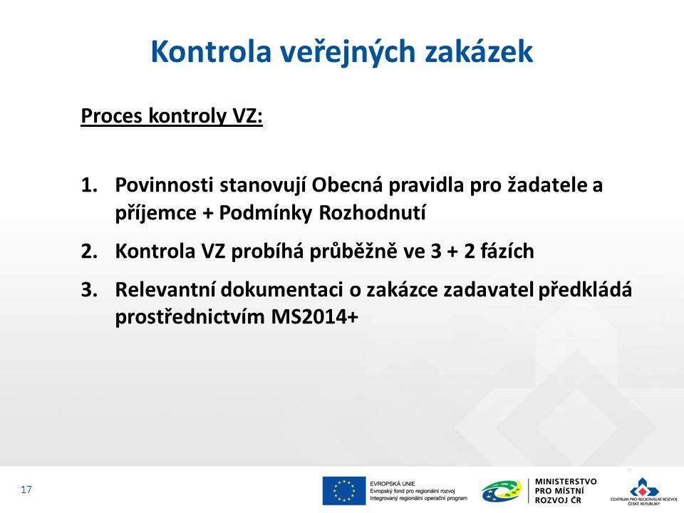 Proces kontroly VZ: 1.Povinnosti stanovují Obecná pravidla pro žadatele a příjemce + Podmínky Rozhodnutí 2.Kontrola VZ probíhá průběžně ve 3 + 2 fázích 3.Relevantní dokumentaci o zakázce zadavatel předkládá prostřednictvím MS2014+ Kontrola veřejných zakázek 17