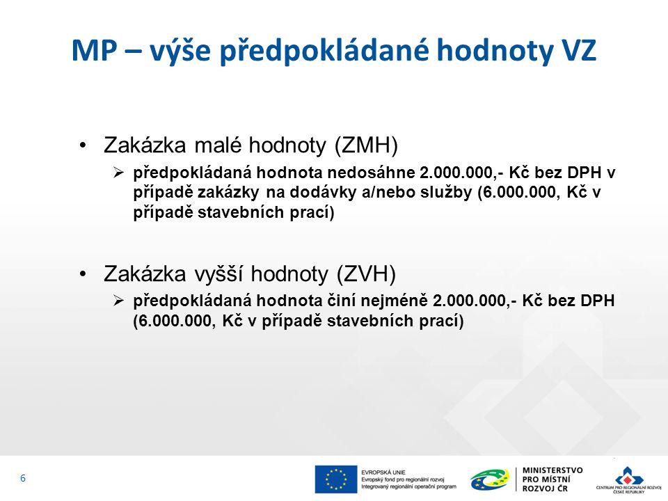 Zakázka malé hodnoty (ZMH)  předpokládaná hodnota nedosáhne 2.000.000,- Kč bez DPH v případě zakázky na dodávky a/nebo služby (6.000.000, Kč v případě stavebních prací) Zakázka vyšší hodnoty (ZVH)  předpokládaná hodnota činí nejméně 2.000.000,- Kč bez DPH (6.000.000, Kč v případě stavebních prací) MP – výše předpokládané hodnoty VZ 6