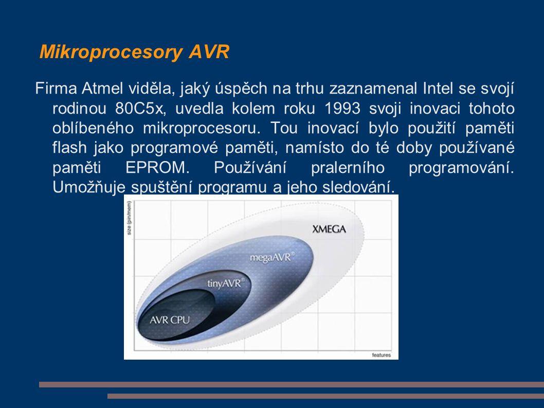 Mikroprocesory AVR Firma Atmel viděla, jaký úspěch na trhu zaznamenal Intel se svojí rodinou 80C5x, uvedla kolem roku 1993 svoji inovaci tohoto oblíbeného mikroprocesoru.