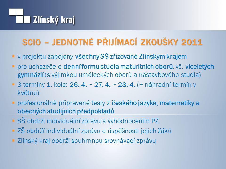 SCIO – JEDNOTNÉ PŘIJÍMACÍ ZKOUŠKY 2011  v projektu zapojeny všechny SŠ zřizované Zlínským krajem  pro uchazeče o denní formu studia maturitních oborů, vč.
