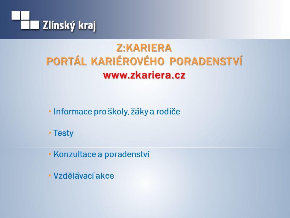 Z:KARIERA PORTÁL KARIÉROVÉHO PORADENSTVÍ www.zkariera.cz Informace pro školy, žáky a rodiče Testy Konzultace a poradenství Vzdělávací akce