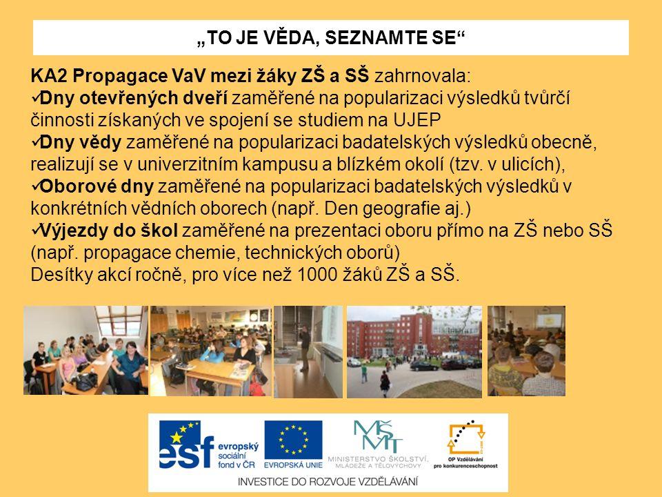 KA2 Propagace VaV mezi žáky ZŠ a SŠ zahrnovala: Dny otevřených dveří zaměřené na popularizaci výsledků tvůrčí činnosti získaných ve spojení se studiem