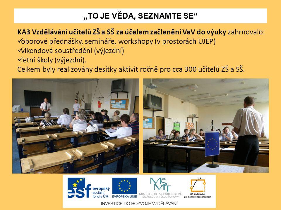 """""""TO JE VĚDA, SEZNAMTE SE"""" KA3 Vzdělávání učitelů ZŠ a SŠ za účelem začlenění VaV do výuky zahrnovalo: oborové přednášky, semináře, workshopy (v prosto"""