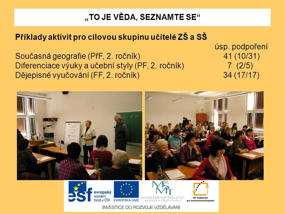 """""""TO JE VĚDA, SEZNAMTE SE"""" Příklady aktivit pro cílovou skupinu učitelé ZŠ a SŠ úsp. podpoření Současná geografie (PřF, 2. ročník) 41 (10/31) Diferenci"""