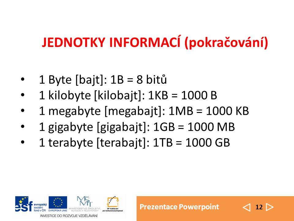 Prezentace Powerpoint 12 1 Byte [bajt]: 1B = 8 bitů 1 kilobyte [kilobajt]: 1KB = 1000 B 1 megabyte [megabajt]: 1MB = 1000 KB 1 gigabyte [gigabajt]: 1GB = 1000 MB 1 terabyte [terabajt]: 1TB = 1000 GB JEDNOTKY INFORMACÍ (pokračování)