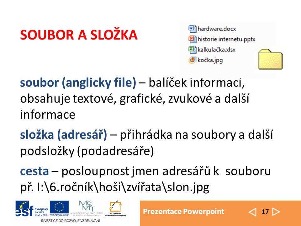 Prezentace Powerpoint 17 soubor (anglicky file) – balíček informací, obsahuje textové, grafické, zvukové a další informace složka (adresář) – přihrádk